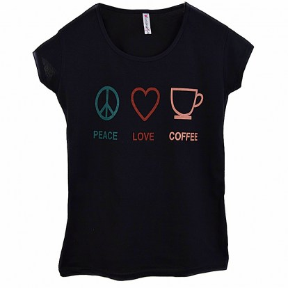 T-shirt damski Peace Love Coffee Kod 1197